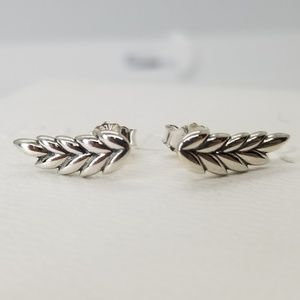 new PANDORA SILVER EARRINGS CURVED GRAINS POSTS